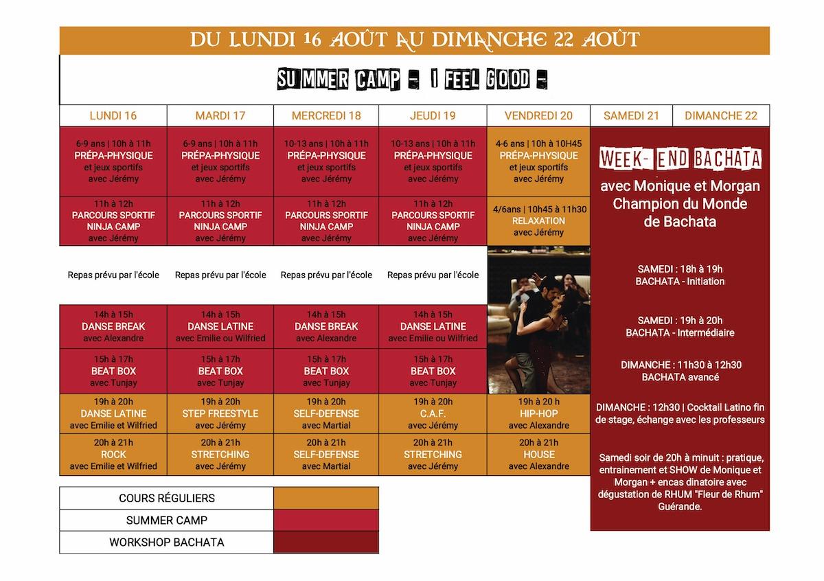 Planning stage danse été du 16 au 22 aout 2021 Dance School Vallée