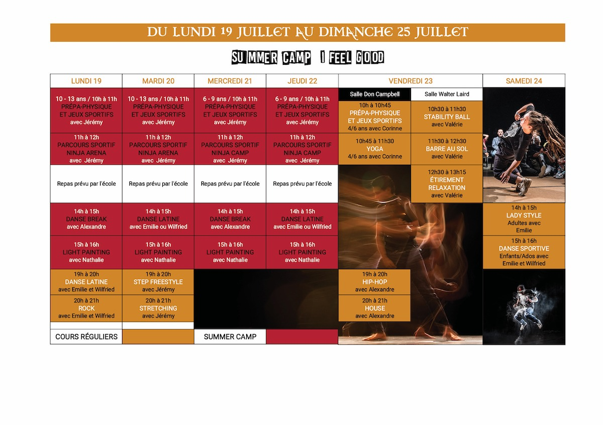 Planning Stage danse été 19 au 25 juillet 2021 Dance School Vallee