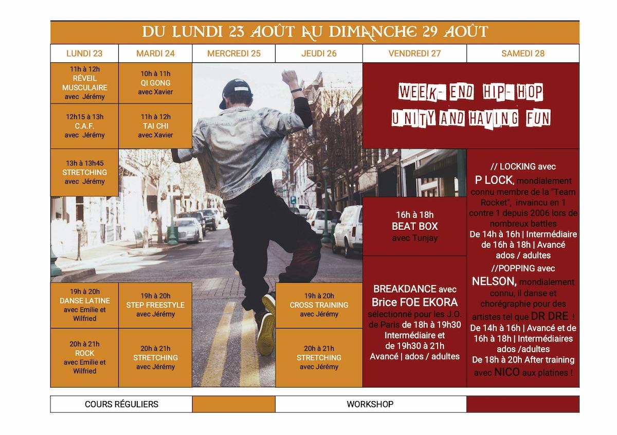 Planning Danse stage été 23 au 29 aout 2021 Dance School Vallée