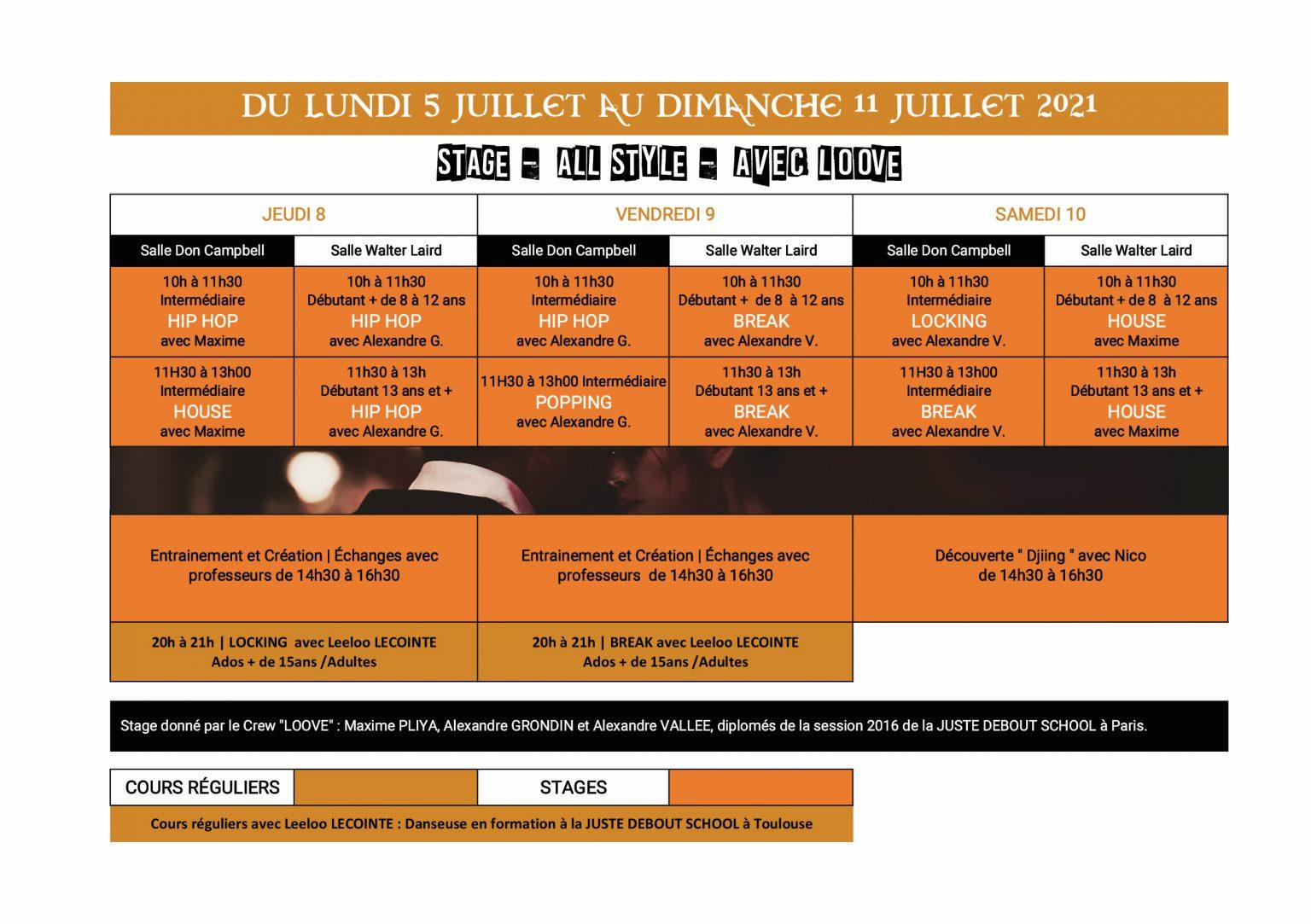 planning stage danse été 5 au 11 juillet Dance School Vallee