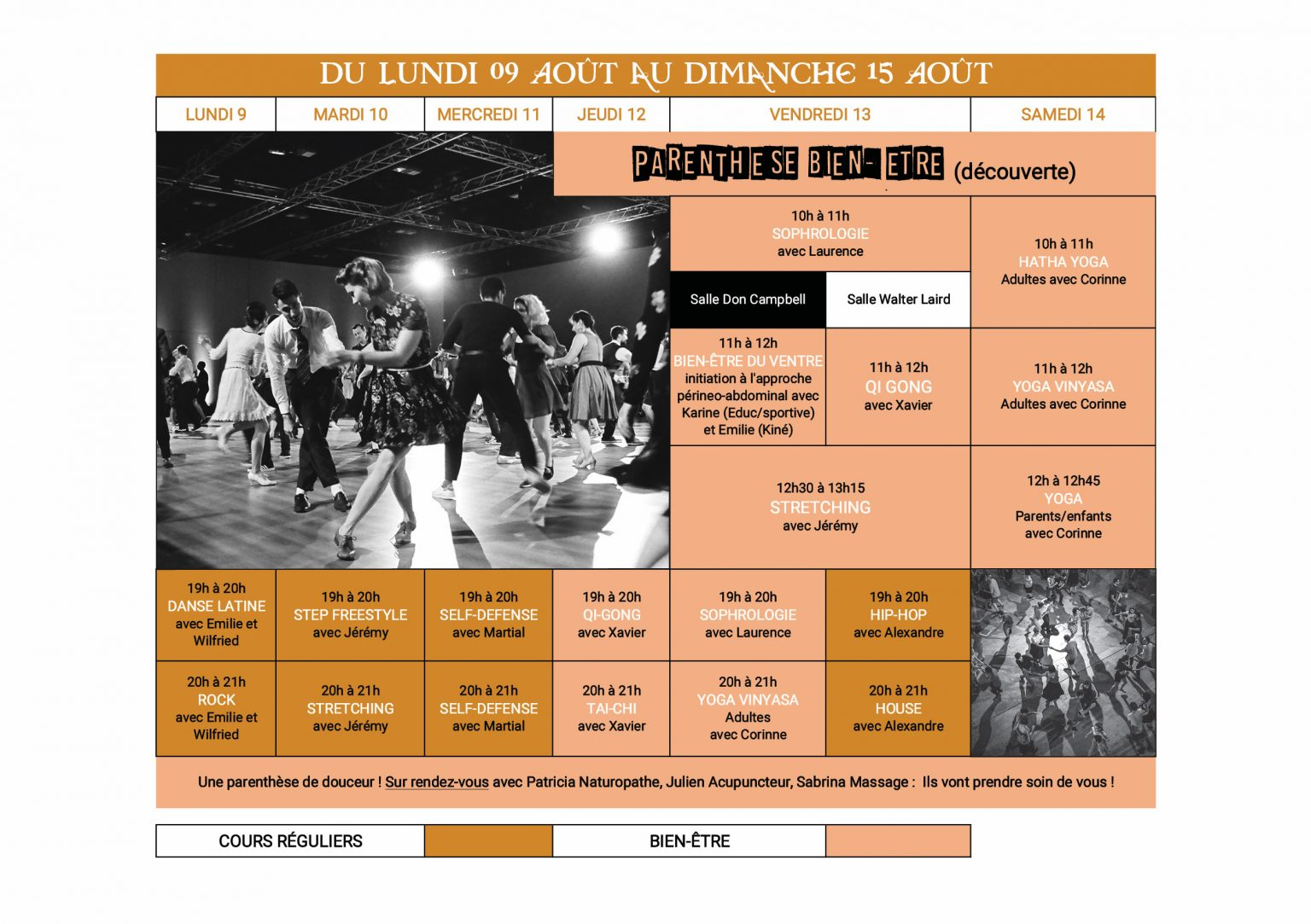 Planning Stage danse été 9 au 15 aout Dance School Vallee